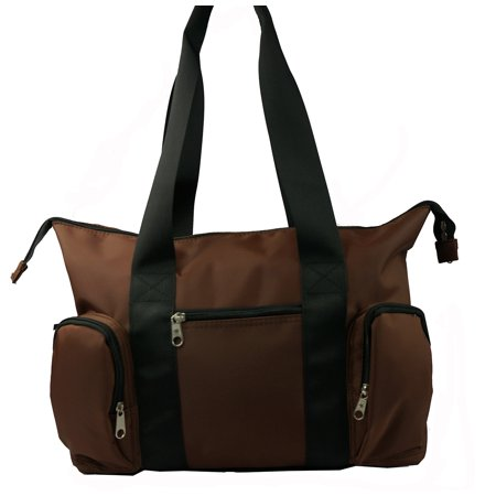 Woman Tote Bag Large Microfiber Handbag Shoulder Messenger Bag Diaper Bag With 3 Front Zippered Pockets Brown