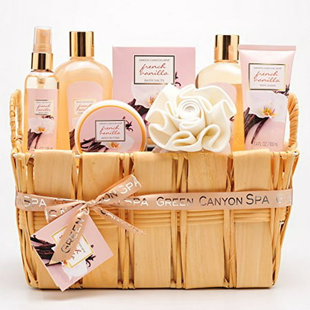 Green Canyon Spa Natural Wood Basket Gift Set in French Vanilla, 8-Piece Premium Bath and Body Spa Products (FRENCH VANILLA)