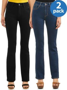 No Boundaries Juniors' Mid-Rise Bootcut Jeans, 2-Pack Bundle