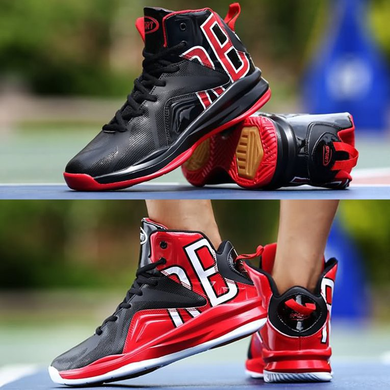 Front Lace-up High-top Basketball Shoes Men's Shock Absorption Sports Shoes