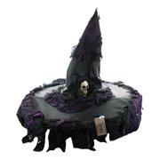 Witch Adult Costume Hat: Black with Purple Trim