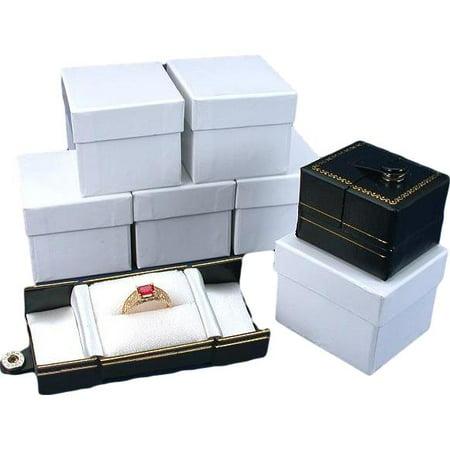 6 Black Leatherette Snap Closure Ring Boxes Displays Displays Black Leatherette
