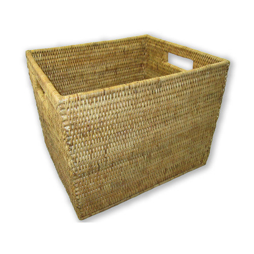 artifacts trading Rattan Letter File Basket with Cutout Handles