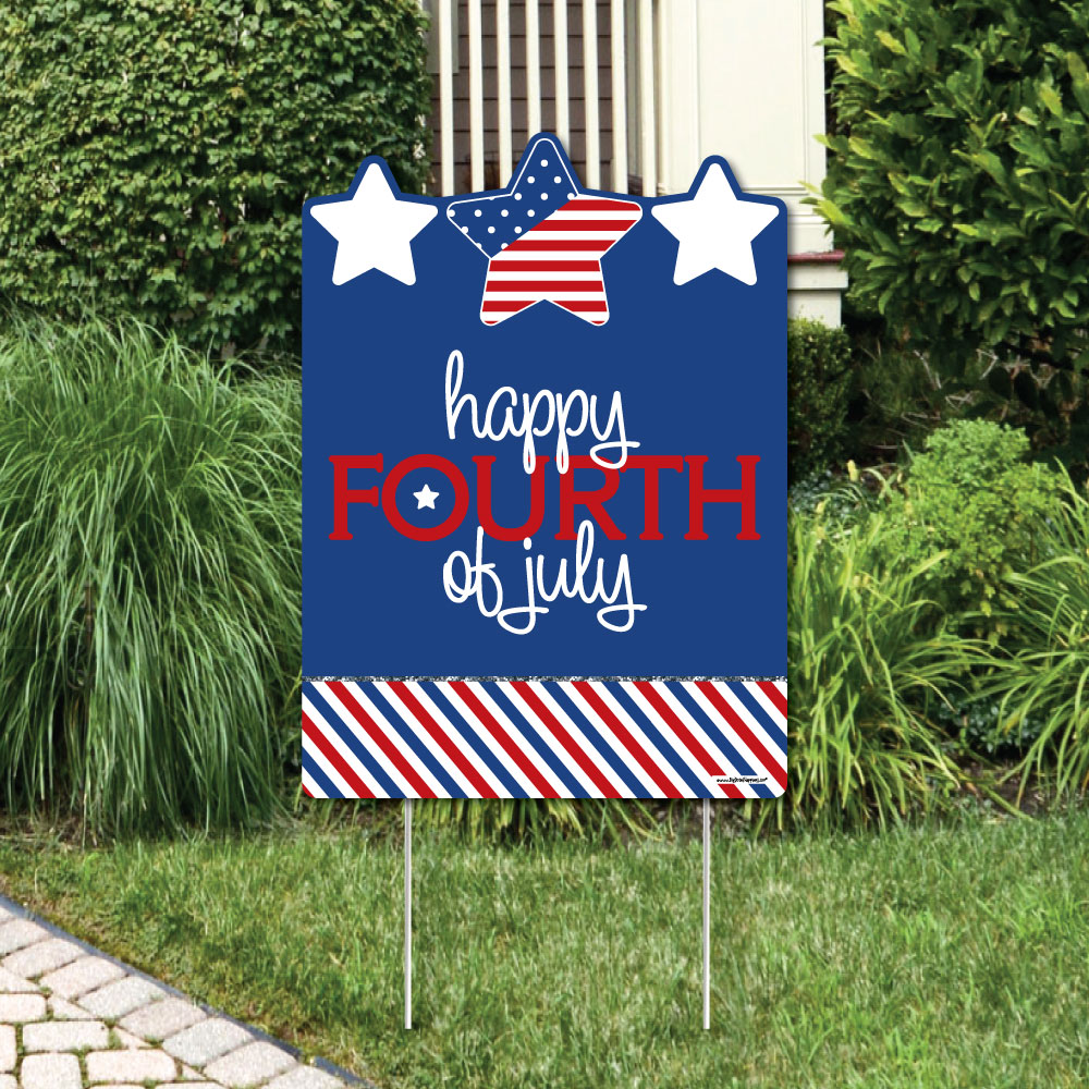 4th of July - Independence Day Party Decorations - Happy Fourth of July Yard Sign
