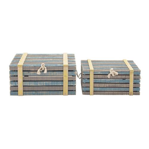 Woodland Imports 2 Piece Antique Wood Burlap Trunk Set by Woodland Imports