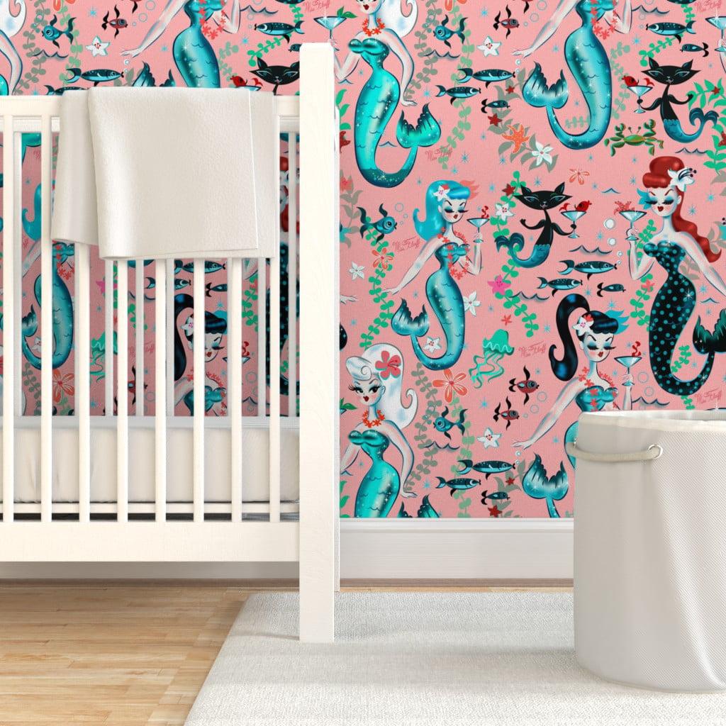 Wallpaper Roll Mermaid Watercolor Mermaids Green Nursery Decor Kids 24in x 27ft