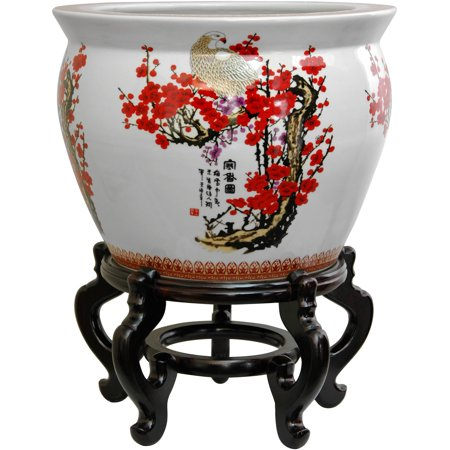 14  Cherry Blossom Porcelain Fishbowl Add an attractive Asian accent to your foyer, living room, dining room, or study with this authentic imported oriental porcelain fishbowl. An elegant decorative planter pot, perfect for a silk or live indoor tree, live or cut flowers, or long lived favorite house plant. Note that there is no drainage hole, so live plants should be removed for watering.