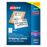 """Avery Shipping Labels with Receipt, 5-1/16"""" x 7-5/8"""" 100 Count (27900)"""