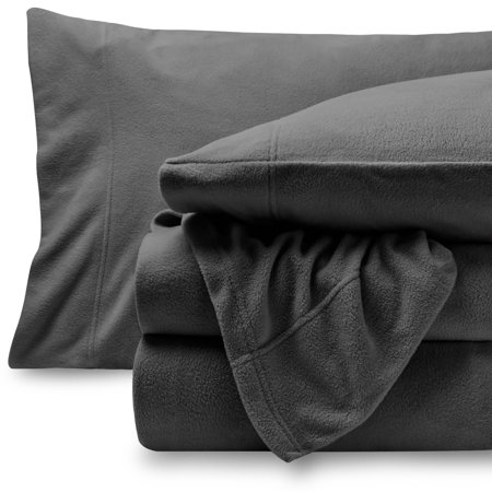 Fleece Super Soft Premium Sheet Set - Extra Plush Pill-Resistant All Season Cozy Breathable Hypoallergenic (Queen, Grey)