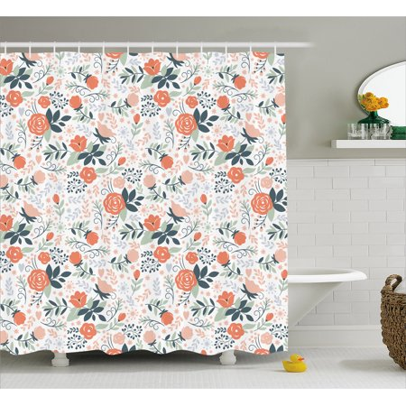 Floral Shower Curtain, Shabby Blooms Nature Inspired Stylish Botanical Beauty Illustration, Fabric Bathroom Set with Hooks, Salmon Peach Almond Green, by Ambesonne