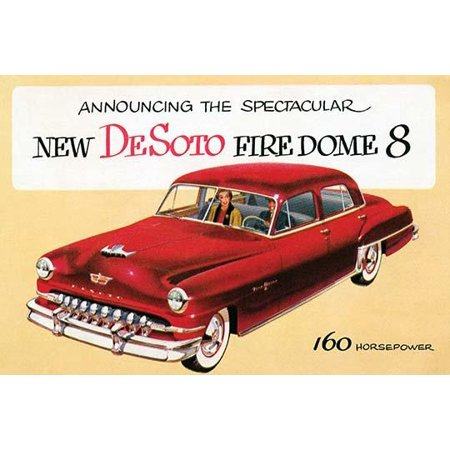 An advertising postcard to promote a new car the 1952 DeSoto Firedome 8 sedan with 160 horsepower Poster Print by unknown (Hotel Advertising Postcard)