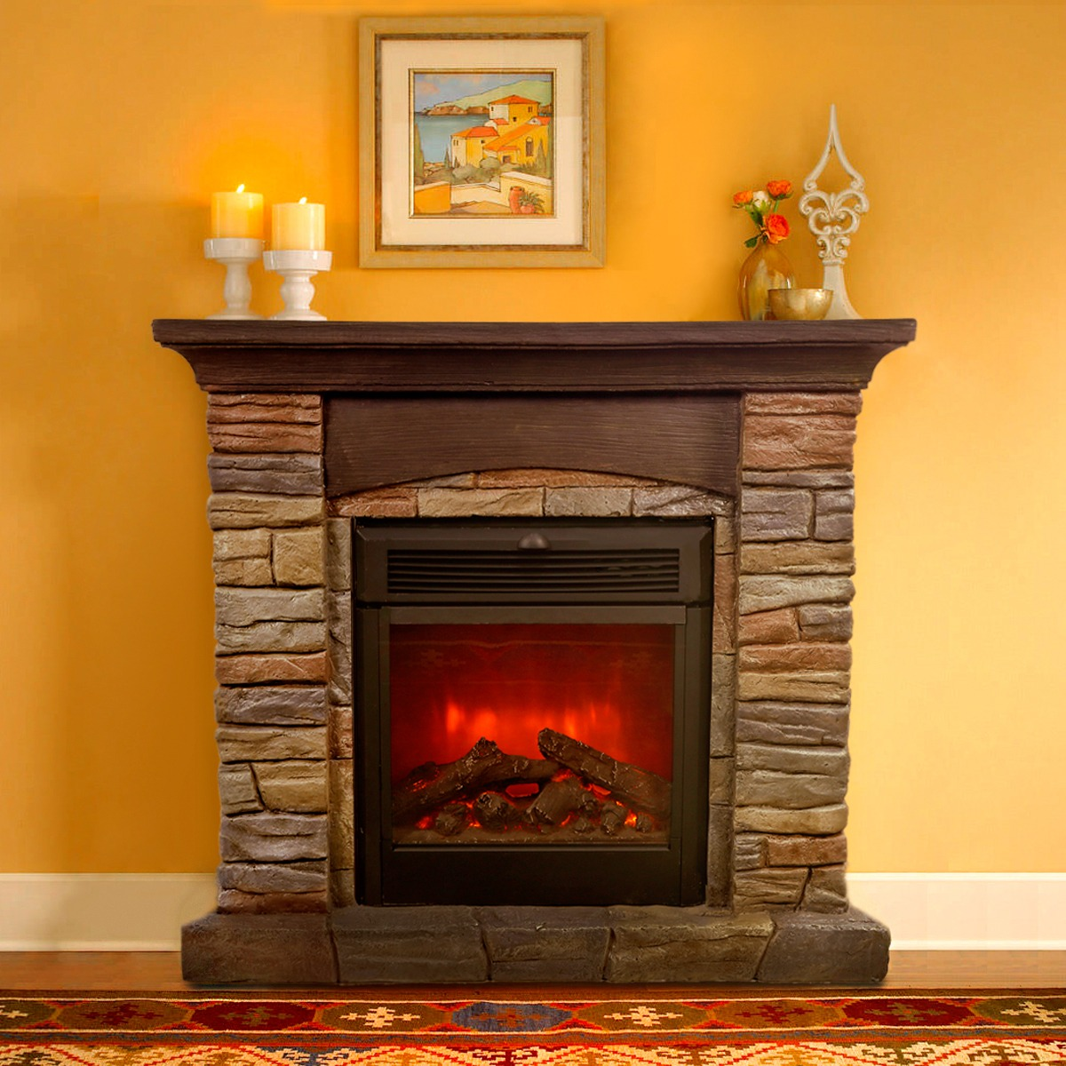 "32"" Electric Fireplace 1500W Ledge Stone Realistic Flame Heater"