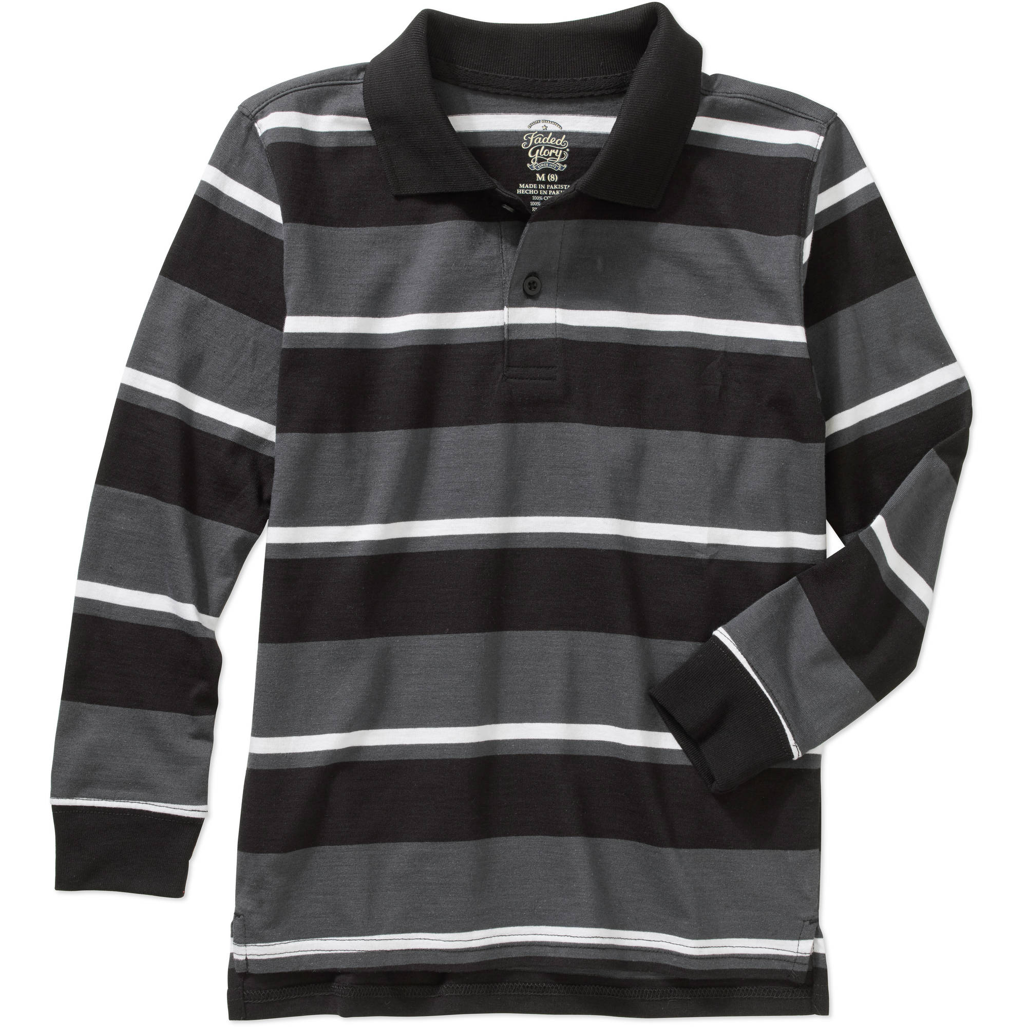 Faded Glory Boys' Long Sleeve Striped Polo