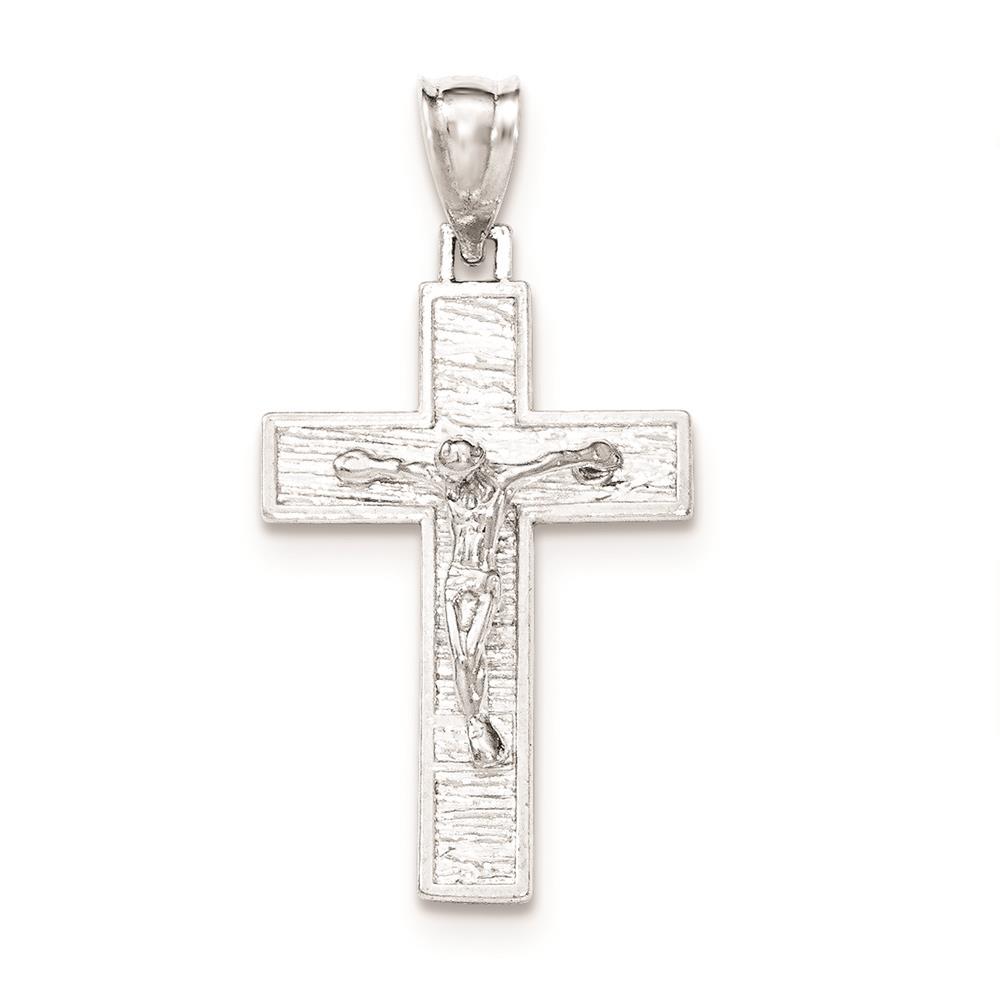 925 Sterling Silver Polished Box Cross Crucifix Charm Pendant