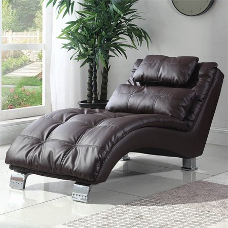 Bowery Hill Faux Leather Tufted Chaise Lounge in Dark Brown Dark Brown Chaise
