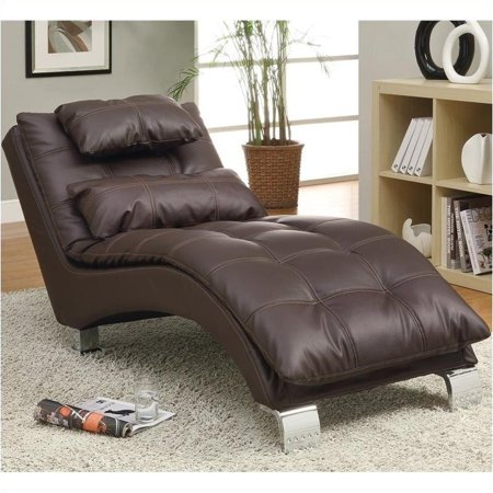 Brown Leather Chaise - Bowery Hill Faux Leather Chaise in Brown