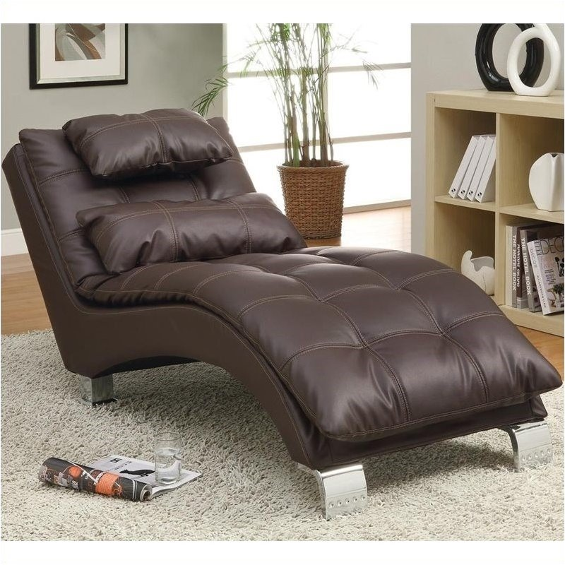 Bowery Hill Faux Leather Chaise in Brown