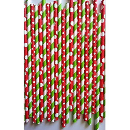 100 premium Christmas style drinking paper straws, can be use for cake pop stick for $<!---->