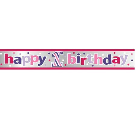 Sweet Stripes Happy 1st Birthday Girl Foil Banner (Happy 1st Birthday Banner)