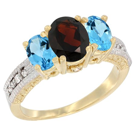 14K Yellow Gold Diamond Natural Garnet Ring Oval 3-stone with Swiss Blue Topaz, size 5.5 14k Gold Natural Garnet Ring