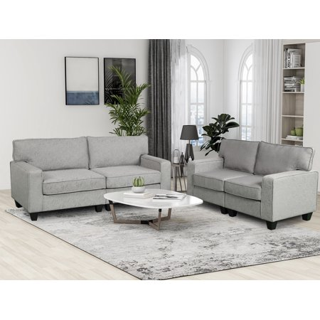 Harper&Bright Designs 2 Piece Living Room Upholstered Sofa and Loveseat Set , Multiple Colors ()