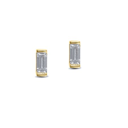 1/5 cttw Solitaire Diamond Baguette Stud Earrings in 14k Yellow Gold