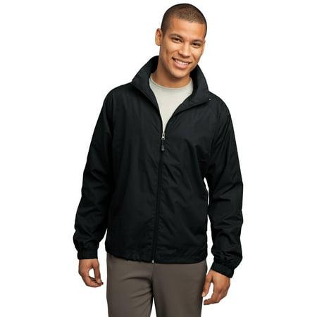 Mens Black Coat Jacket - Sport-Tek JST70 Mens Full-Zip Wind Jacket - Black - XS