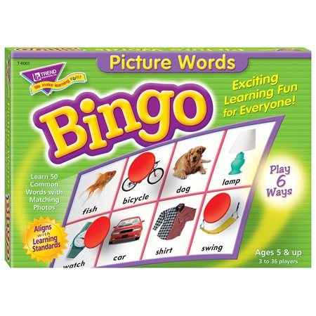 Picture Words Bingo Game, Build language skills by matching words to photos of 50 common objects