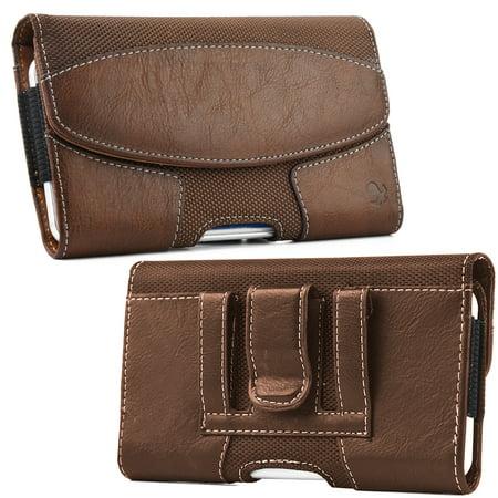 [World Acc] Premium PU Leather Pouch Holster Belt Clip Case For LG Aristo / Risio 2 / Fortune / K4 2017 / K8 2017 / Rebel 2 / Phoenix 3 (Premium Brown Suede Pouch)