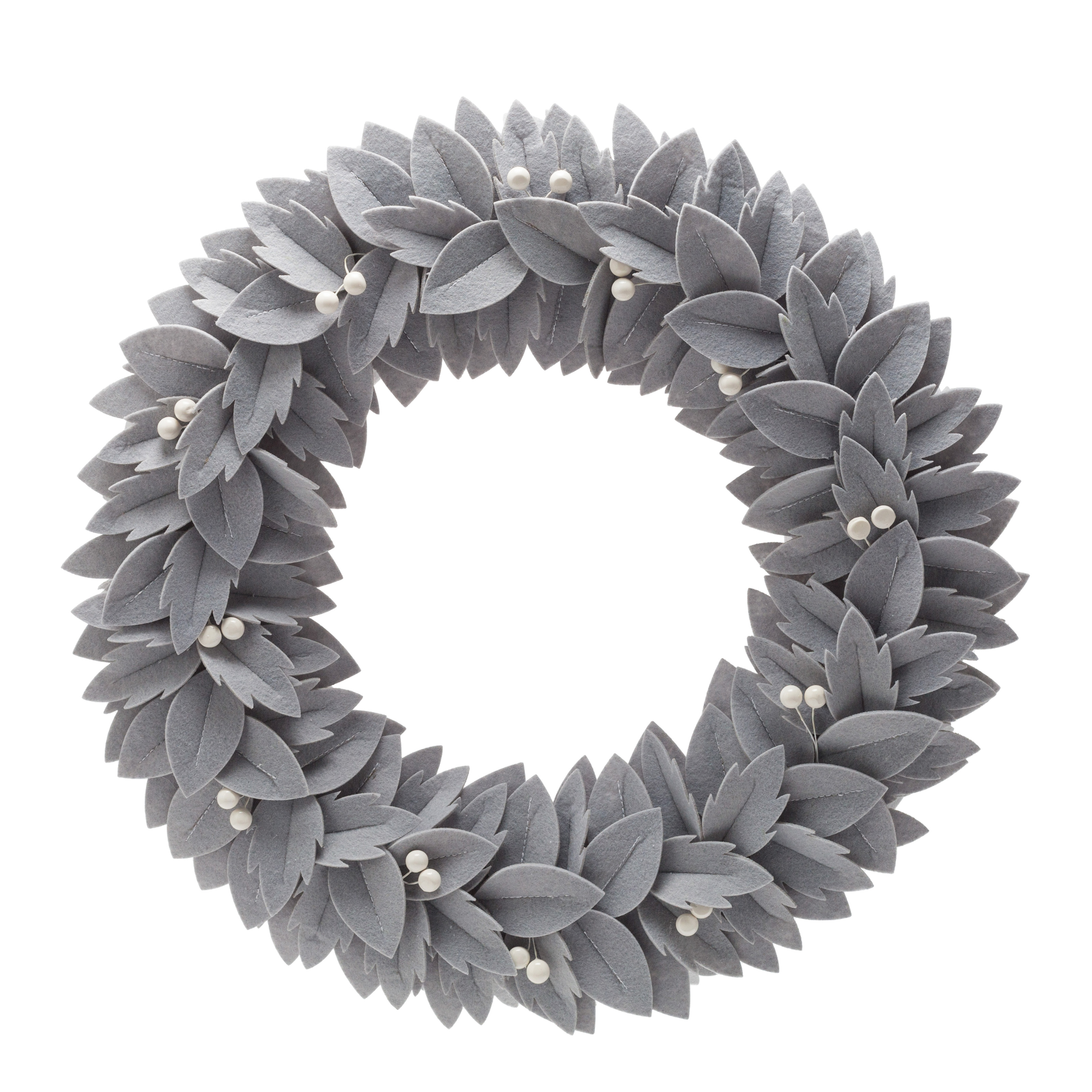 "Belham Living Neutral Felt Christmas Wreath, 22"" diameter"