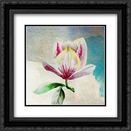 Solitary Magnolia 2X Matted 20X20 Black Ornate Framed Art Print By Boho Hue Studio