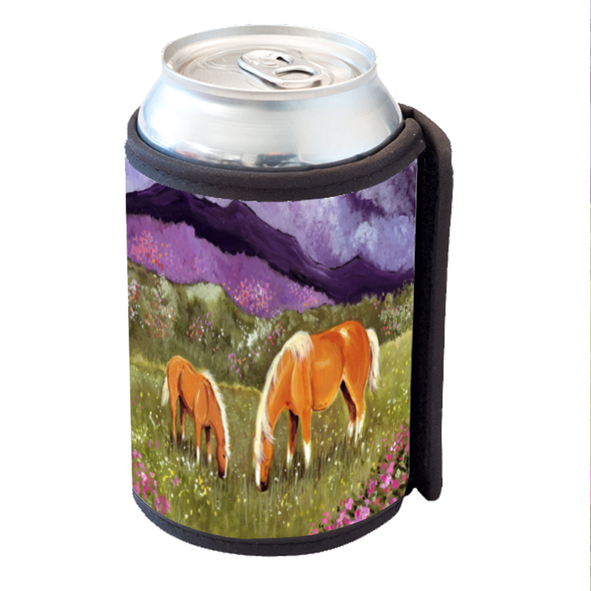 KuzmarK Insulated Drink Can Cooler Hugger - Belgian Mare and Foal High Valley Spring Horse Art by Denise Every