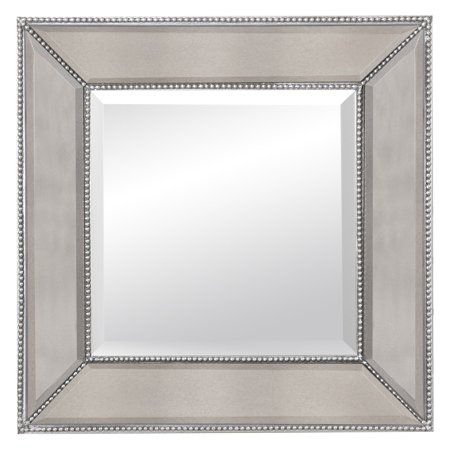 Beaded Square Wall Mirror   24W X 24H In