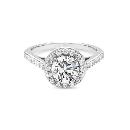 Sterling Silver 2 Tone Created White Sapphire Filigree Side Halo Ring Size 8