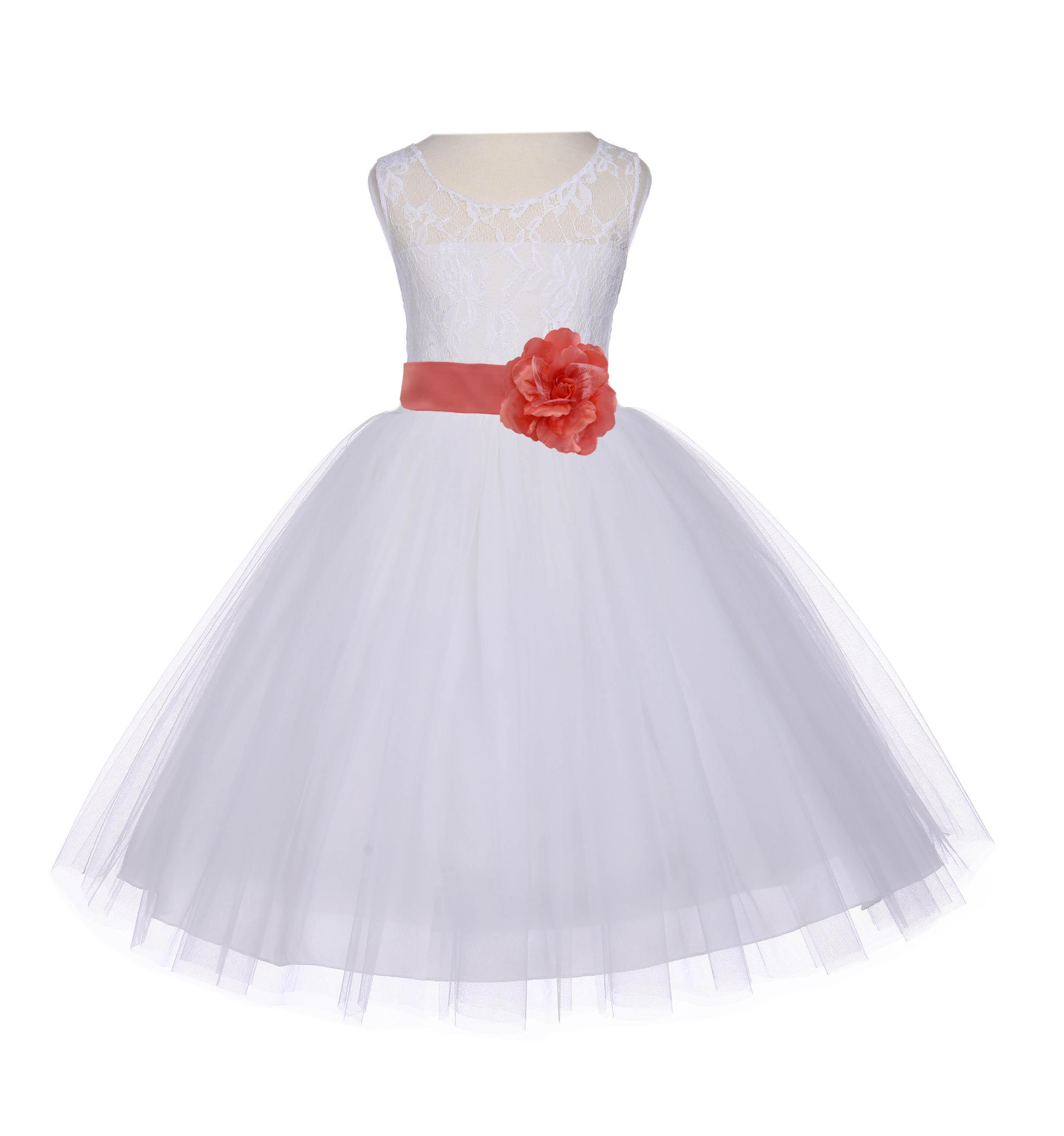 Ekidsbridal Ivory Lace Bodice Flower Girl Dress Tulle Junior Bridesmaid Wedding Pageant Toddler Recital Easter Holiday First Communion Birthday Baptism Special Occasions Gown 153S