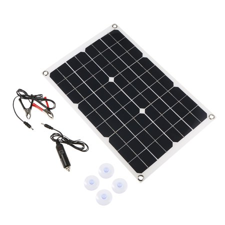 DC5V/DC18V 20W Dual Output Solar Power Energy Charging Panel with USB Interface Car Charger IP65 Water Resistance Portable Completed Accessories for Outdoor Camping Hiking Fishing