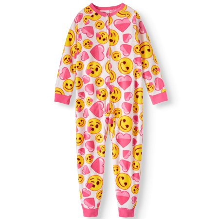 Girls' Emoji Onesie Pajama Sleeper (Little Girl & Big Girl)](Next Womens Onesie)