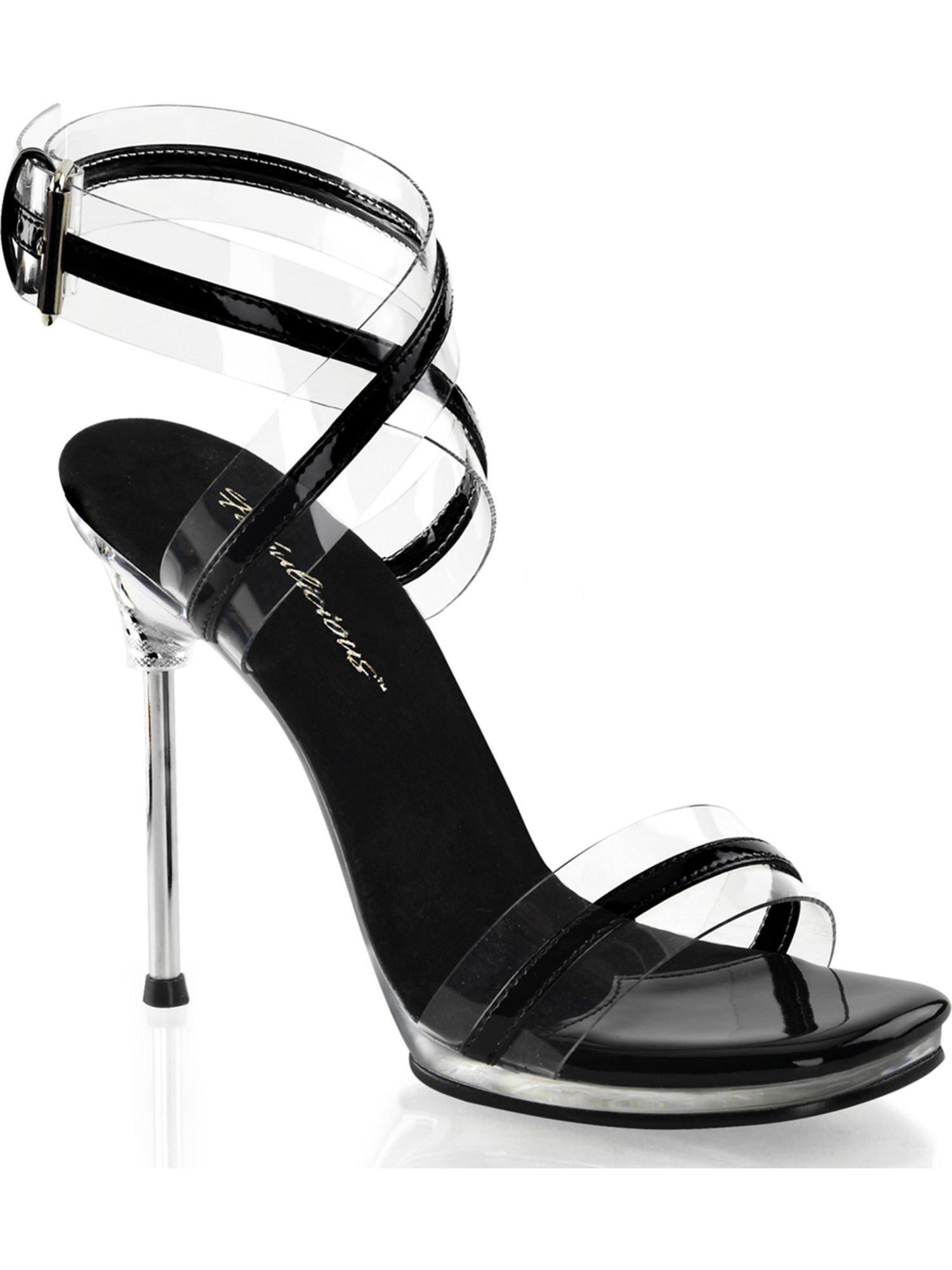 Womens Stylish Black and Clear Dress Sandals 4.5 Inch Silver High Heel Shoes