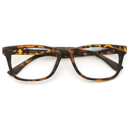 WearMe Pro - Unisex Retro Squared Celebrity Star Simple Clear Lens Fashion Glasses - Prom Glasses
