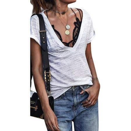 Women Deep V Neck Tee Blouse T Shirt Casual Soild Short Sleeve Summer White Tops