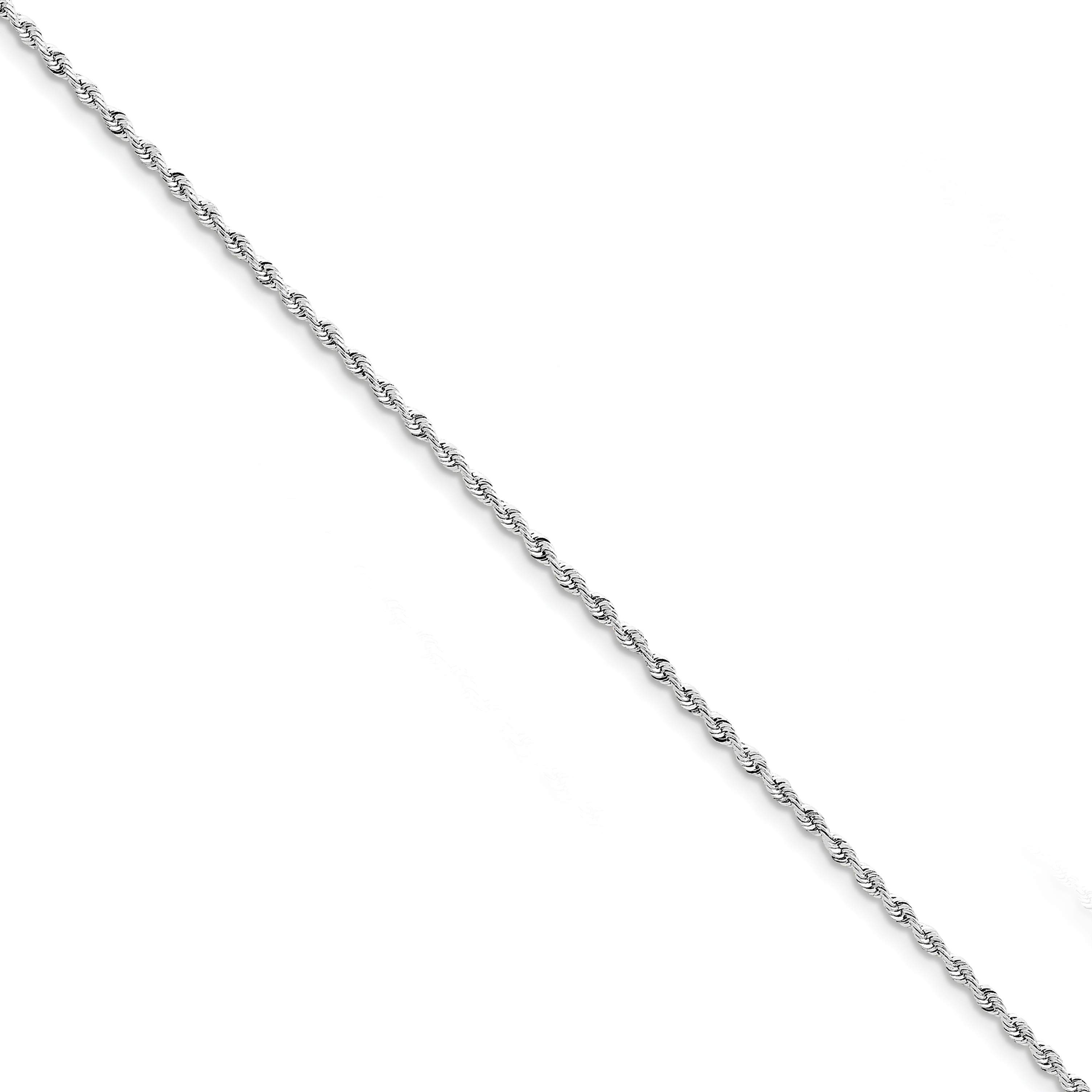 10K White Gold 2.25mm Diamond Cut Quadruple Rope Chain Anklet 9 Inch - image 2 de 2