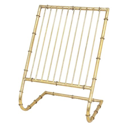 Sagebrook Home Metal Magazine Rack - Gold Place the Sagebrook Home Metal Magazine Rack - Gold on your floor or a tabletop for convenient and tidy magazine storage. This 11-slot metal rack features a gold finish and ring accents for classy display of and easy access to your favorite subscriptions.