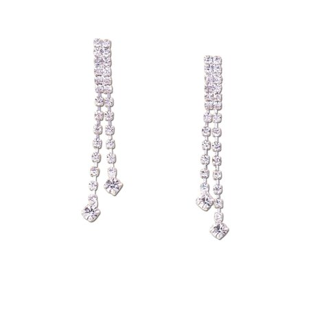 - Bridal Earrings Silver Crystal Two Strand Dangle Earring For Women
