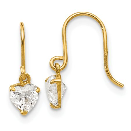 14k Yellow Gold Cubic Zirconia Cz Childrens Heart Drop Dangle Chandelier Earrings Love ()