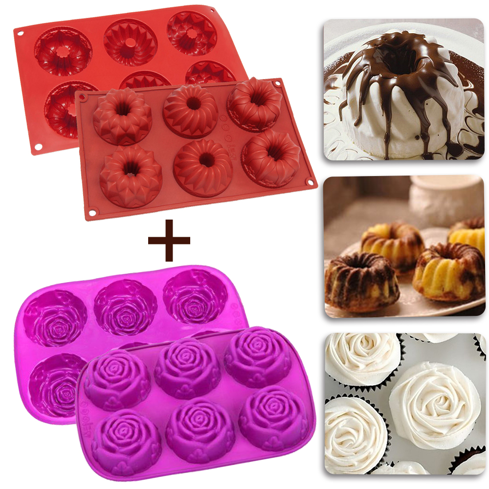 [2 Pack] 6-Cavity Rose Shape+Bundt Silicone Baking Mold iClover Food Grade Silicone Mold for Chocolate ,Cupcake, Bread, Muffin, Pudding,Bakeware Molds