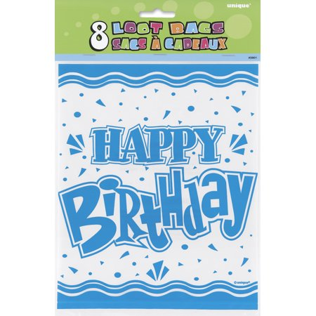 Assorted Colors Happy Birthday Treat Bags (8ct)
