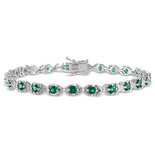 """2-5/8 Carat T.G.W. Created Emerald and Diamond Accent Sterling Silver """"XOX"""" Style Tennis Bracelet, 7"""""""