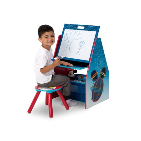 - Disney Mickey Mouse Activity Center - Easel Desk with Stool & Toy Organizer by Delta Children