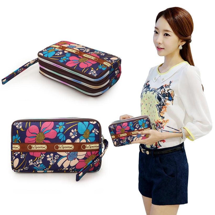 Women FLOWER Zipper Print Long Purse Ladies Clutch Coin Phone Bag Wallet Holder