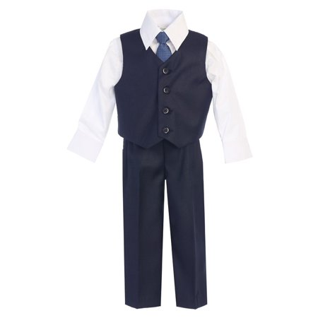 Little Boys Navy Vest Pants Special Occasion Outfit Set 5 (Old Navy Kids Clothes)